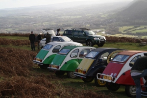 Elly the 2CV and friends atop the Sugar Loaf near Abergavenny.
