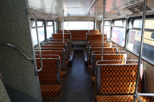 West Midlands Travel orange bus seats