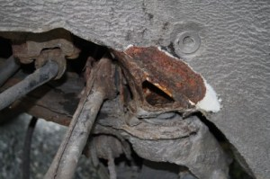 Bugger. Mercedes suffers rear subframe mounting rot