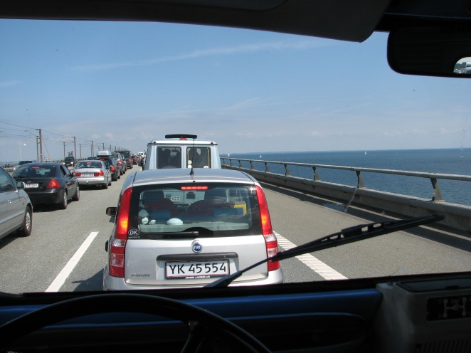 Commanding driving position, here on a big bridge in Denmark