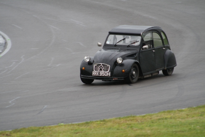 Pete Sparrow giving it some welly in his BMW 2CV.