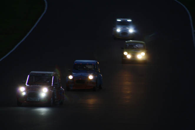 The 2014 2CV 24hr Race as night descended. My pic. Yes, that is a Mini.
