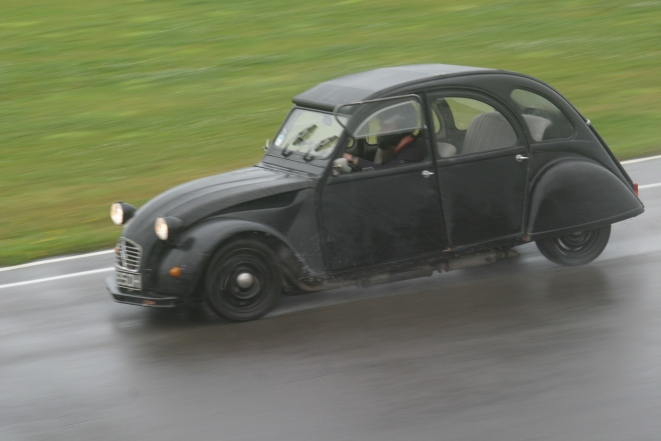 Trying not to crash the 100bhp 2CV (thanks to Ed McDonough for the photo)