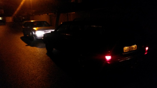 Two Volvos meet in the dark...