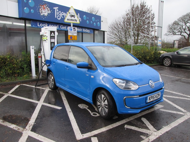 The Volkswagen e-UP! rapid charges in Oswestry.