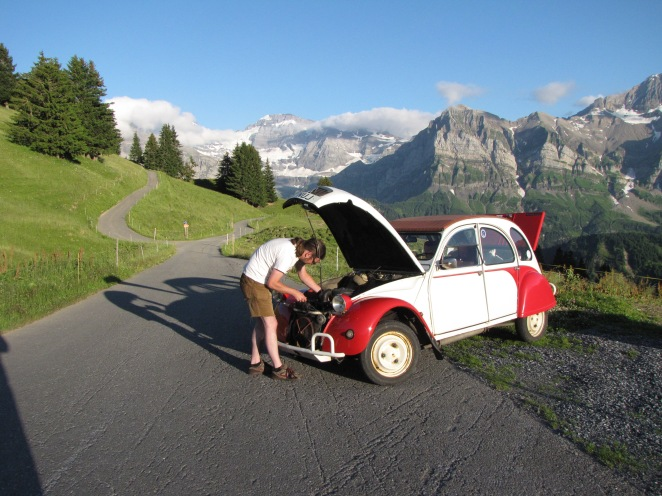 Checking Elly over after a very hard climb in Switzerland.