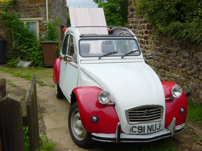 2CV door through roof